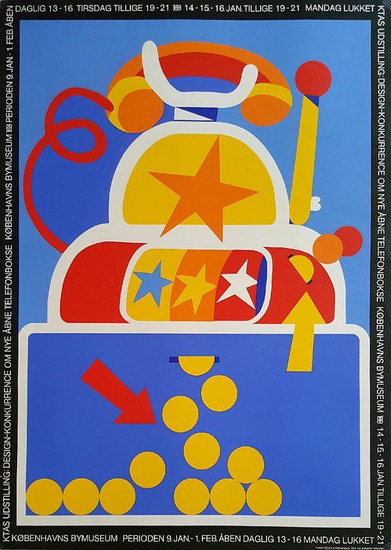 1980 Arnoldi Telephone Box Design Original Vintage Poster Design Og Telefonboks