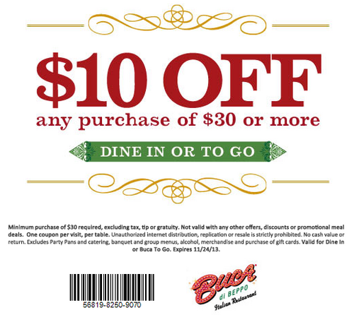 Free buca di beppo coupons get 10 off any purchase of 30 or free buca di beppo coupons get 10 off any purchase of 30 or more at fandeluxe Gallery