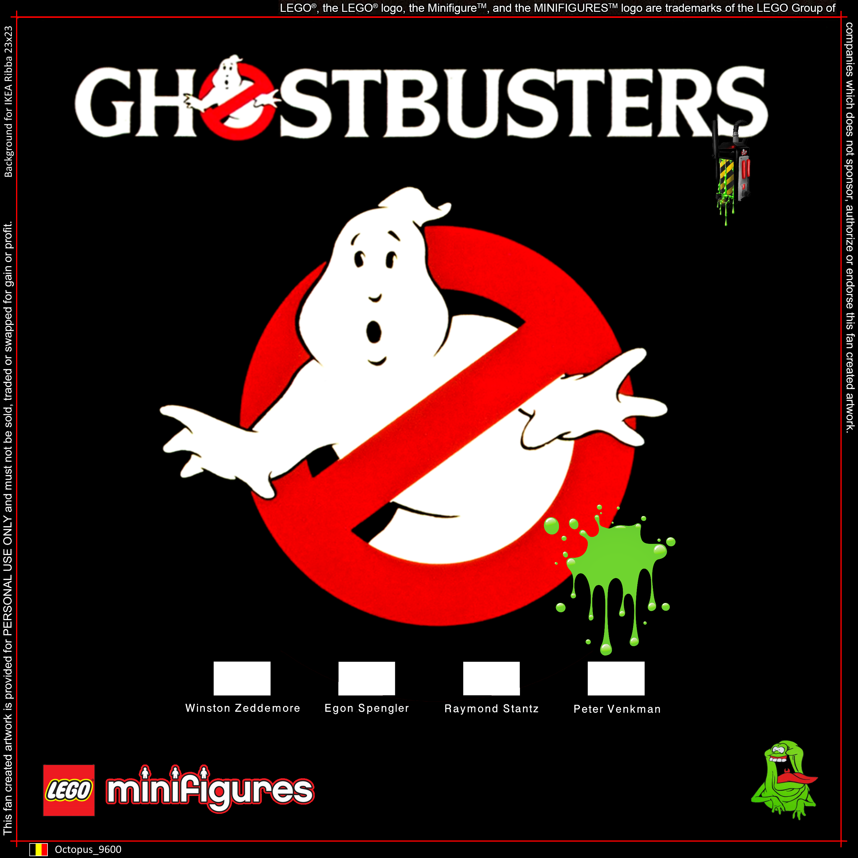 LEGO Ghostbusters Minifigures Background for IKEA Ribba 23x23 | liew ...