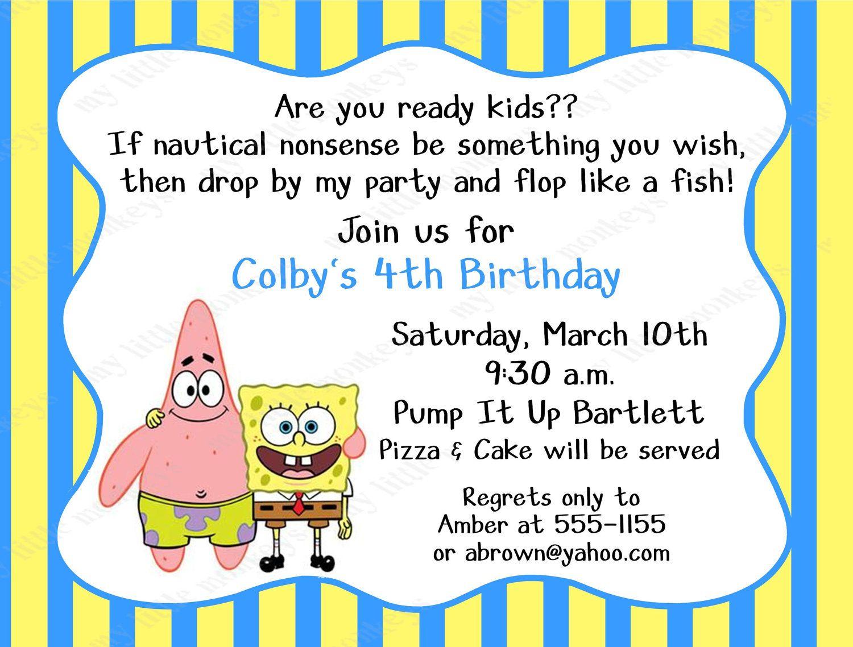 10 Spongebob Birthday Invitations With Envelopes Free Return Address Labels 7 99 Via Etsy Spongebob Birthday Spongebob Birthday Party Spongebob Party