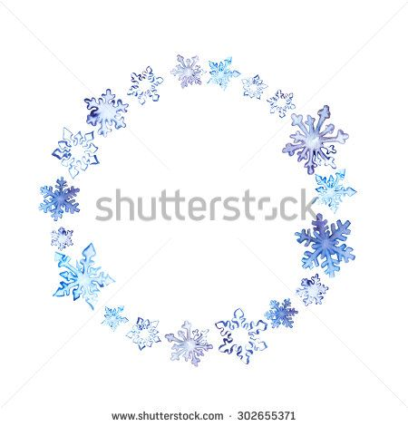 Winter wreath with snow flakes. Watercolor circle frame for fashion design - stock photo