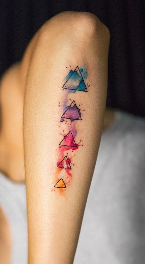 3ab62481d Colorful Geometric Tattoo | Watercolor Tattoos | Geometric watercolor tattoo,  Tattoos, Chakra tattoo