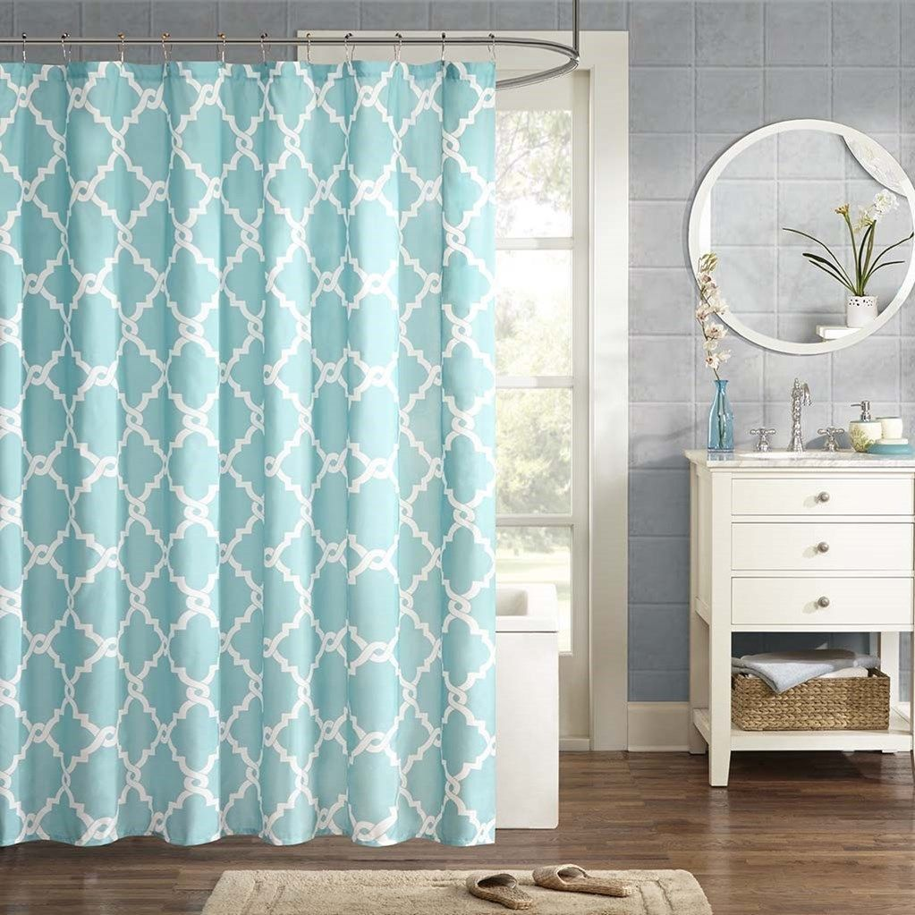 Aqua Blue White Fretwork Design Fabric Shower Curtain 72 X 72