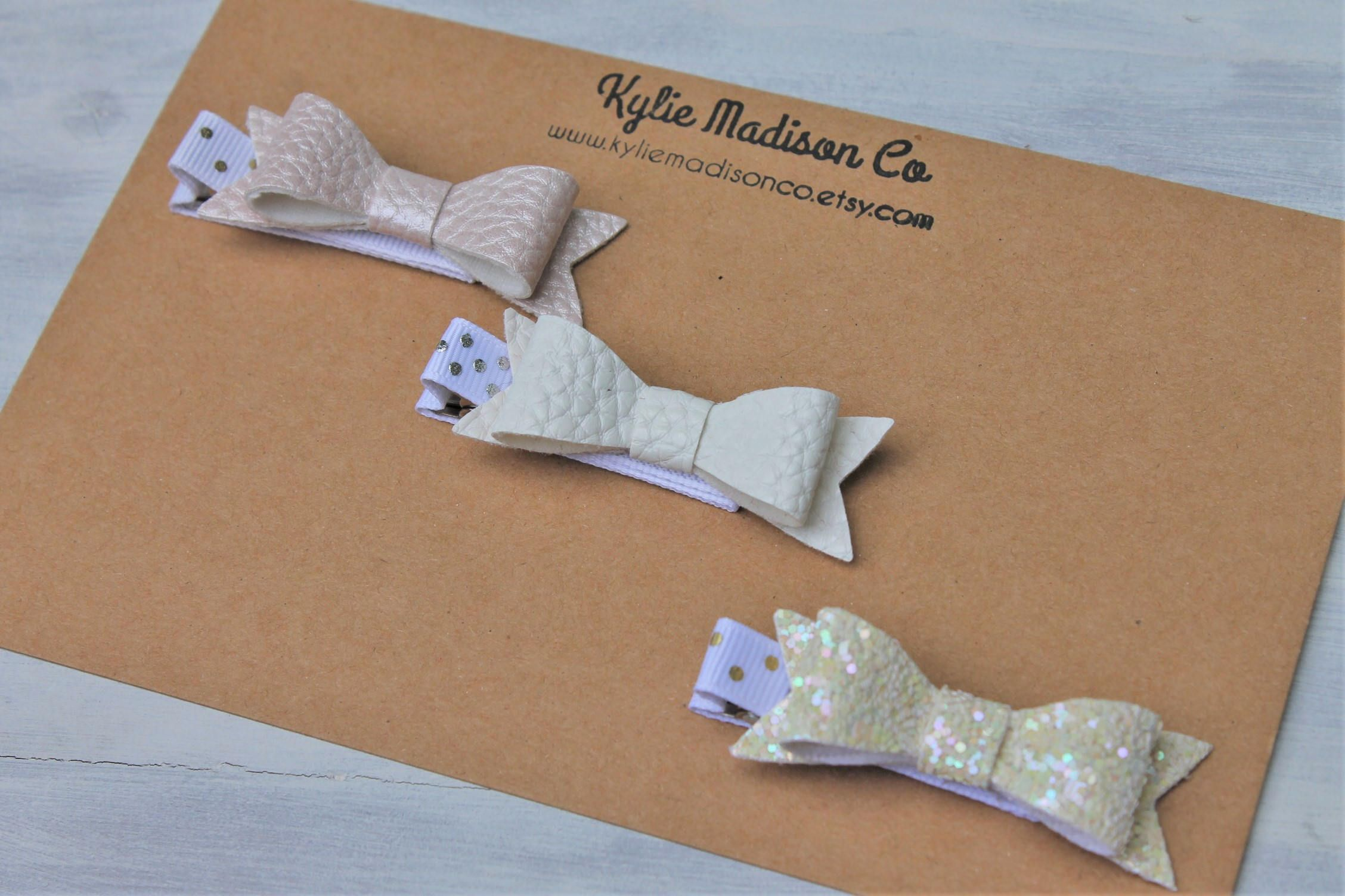Pink, white and cream petite bow clip set, baby hair clips by KylieMadisonCo on Etsy