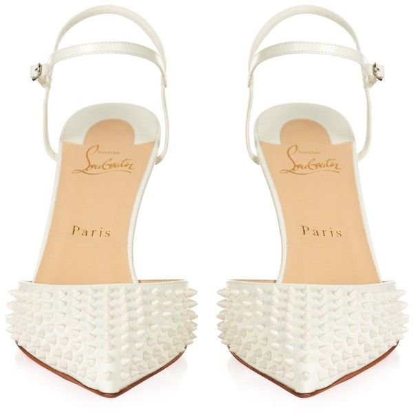 Christian Louboutin Baiea 85mm spike-embellished pumps (2.379.850 COP) ❤ liked on Polyvore featuring shoes, pumps, white pumps, christian louboutin shoes, ankle strap shoes, ankle strap pumps and white pointy toe pumps