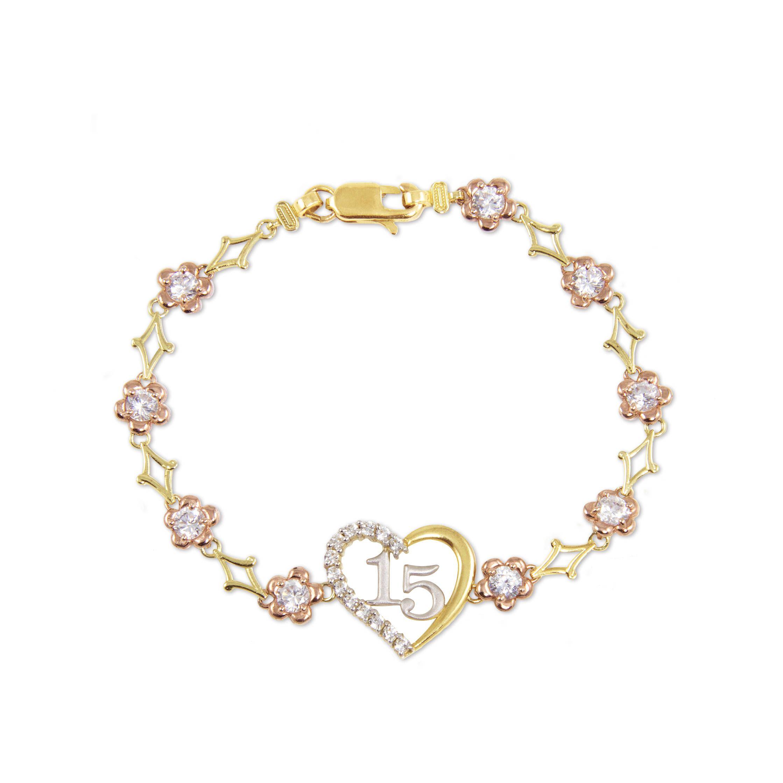 prix spécial pour Couleurs variées ventes spéciales 10K Solid Yellow Rose Gold Cubic Zirconia Heart Sweet 15 ...