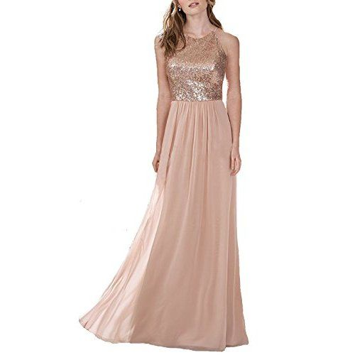 MACloth Women V Neck Lace Chiffon Long Prom Dresses Formal Party Evening Gown (54, Champagne)