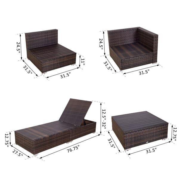 Outsunny 9 Piece Aluminum Outdoor Patio Rattan Wicker Sofa Sectional Furniture Set Desert Sand