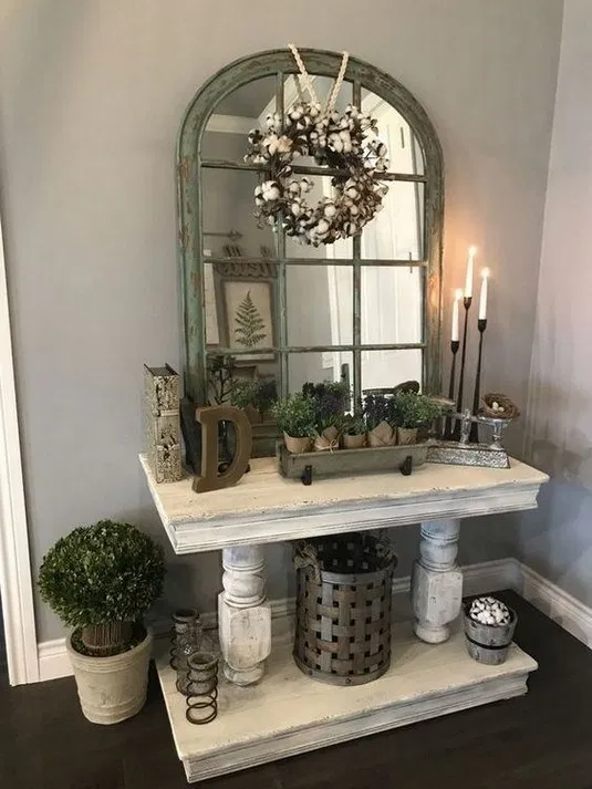 75 Best Entryway Table Farmhouse Decor Ideas To Greet Guests In Style Texasls Org Farmhousedecor Farmhouse Entry Table Farmhouse Style Kitchen Rustic House