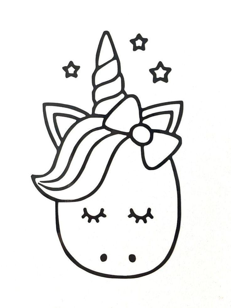 Cute Cartoon Unicorn Vinyl Decal Sticker Various Colours Sizes