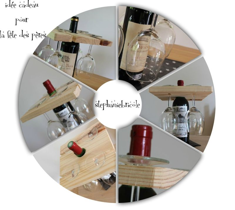 id e diy pour la f tes des p res porte verres sur une bouteille de vin cadeau fete des peres. Black Bedroom Furniture Sets. Home Design Ideas