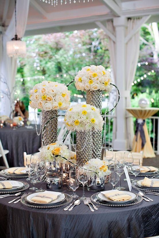 Gray and Green Wedding Centerpieces | Nashville Garden Wedding ...