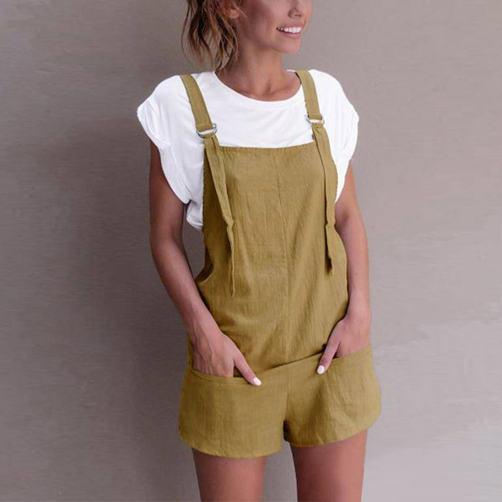 Jumpsuit for women Linen pockets Rompers Playsuit Shorts Pants #winterwomensfashion