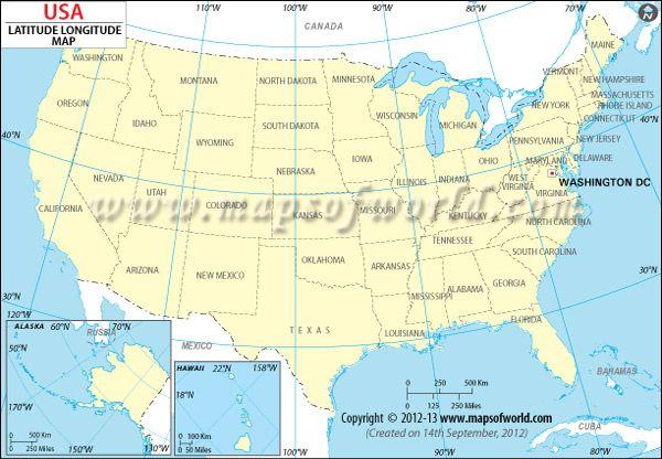 USA Latitude and Longitude Map | Usa map, Latitude longitude
