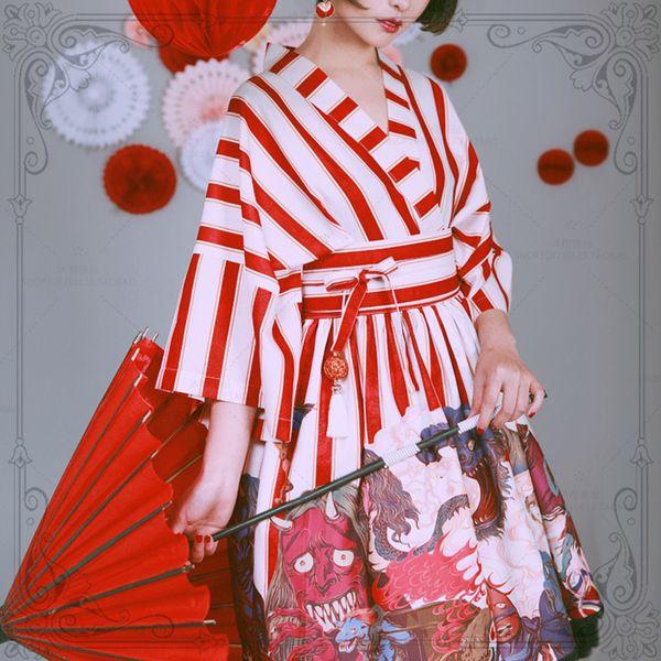 沐樱?子不语。大正风日式和服羽织外套 七分袖上衣开衫+半身裙套