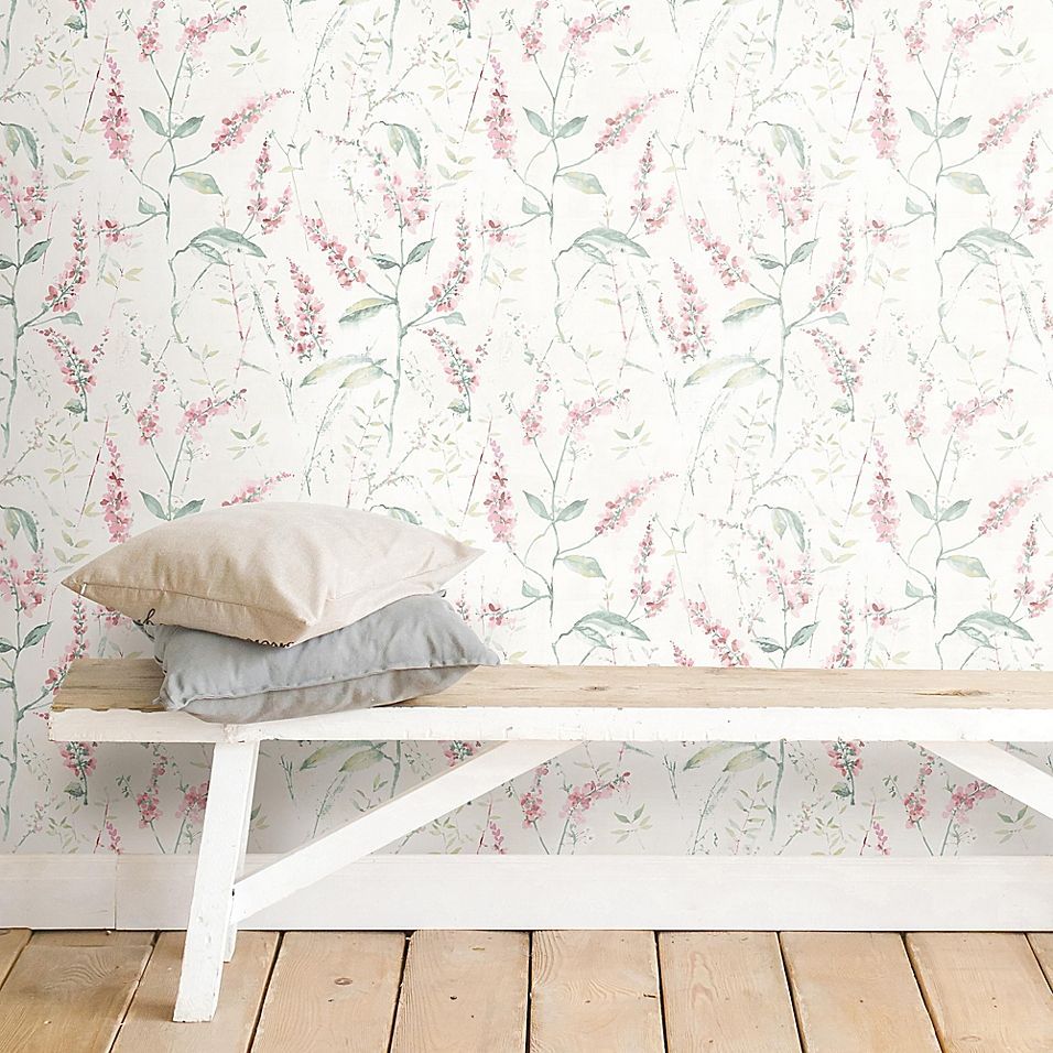 Roommates Floral Sprig Peel Stick Wallpaper In Pink Wallpaper