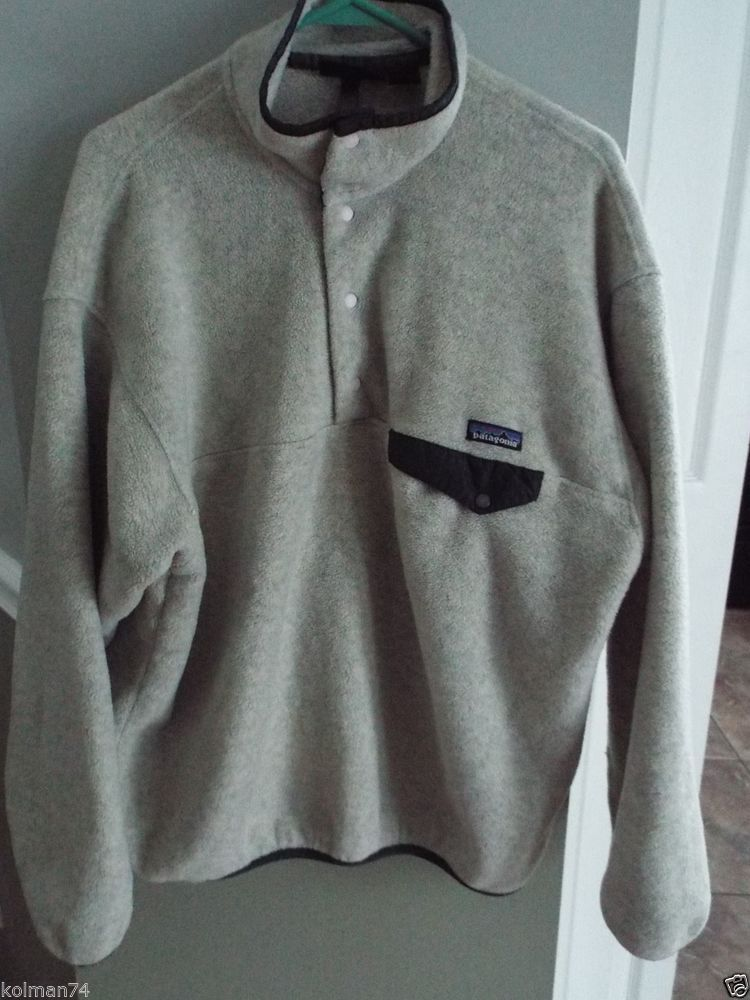 Patagonia Fleece 1/2 snap pullover Mens size L, Very Nice cond, Oatmeal color