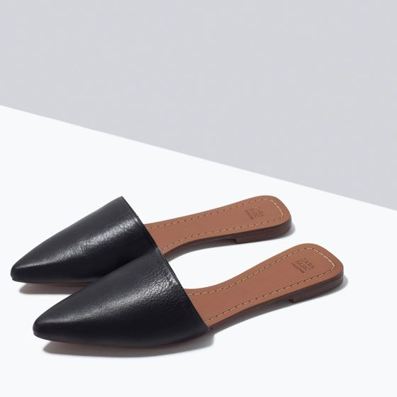 ZARA - SHOES & BAGS - FLAT LEATHER SLIPPERS