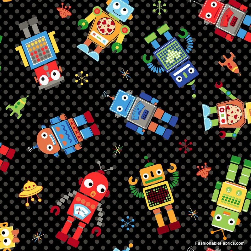 Fabric... Run Run Robot Medium Robot Toss by Quilting Treasures