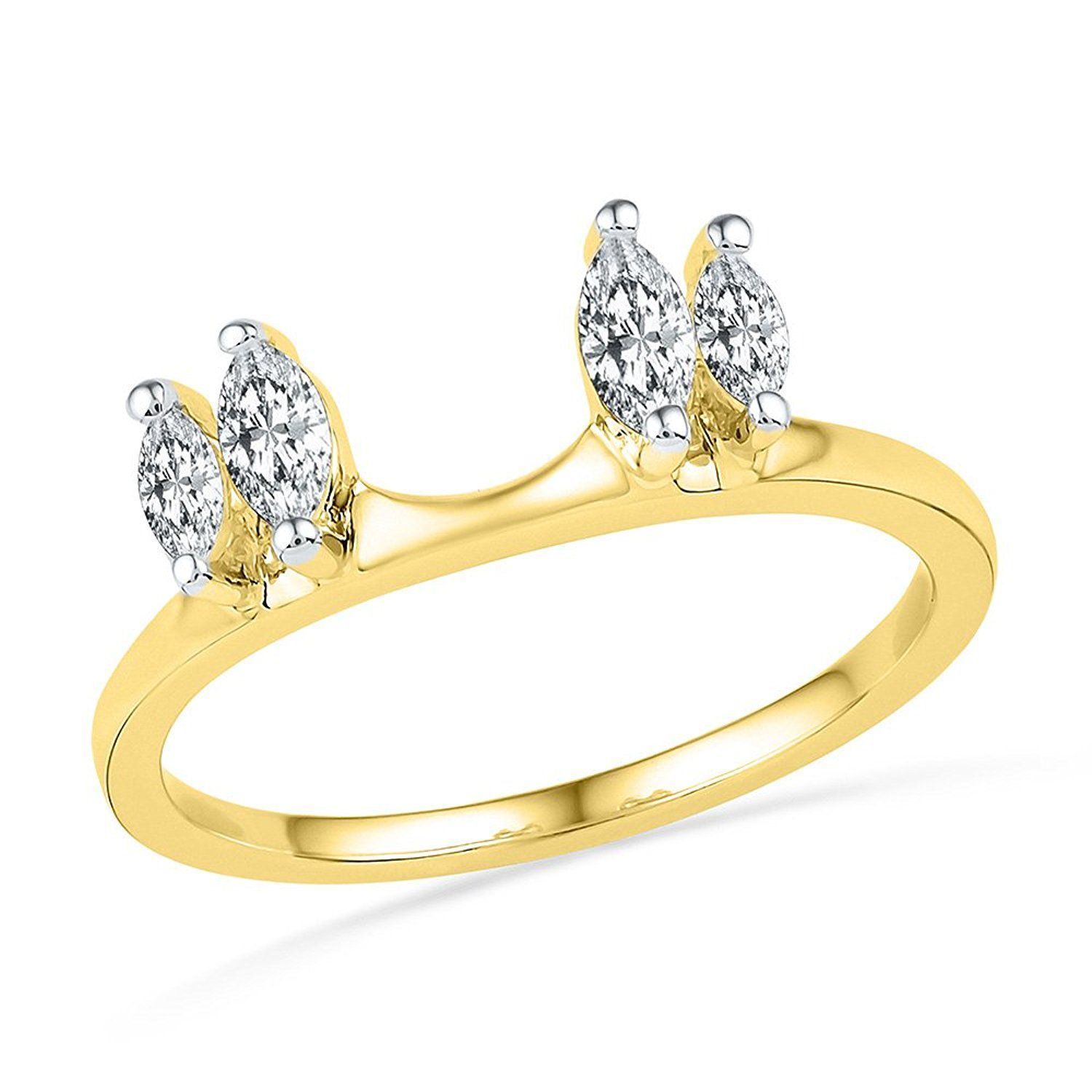 14kt Yellow Gold Womens Oval Natural Diamond Ring Guard
