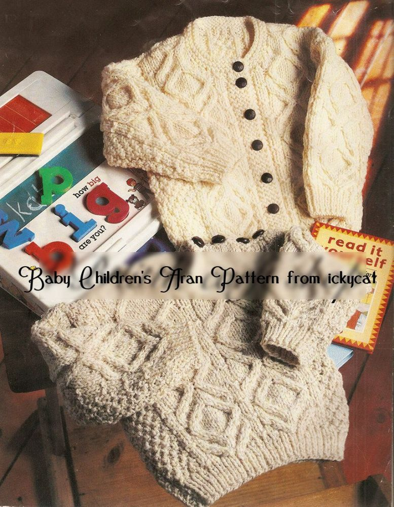 2916ff0ec PDF DIGITAL BABY TODDLER CHILDRENS ARAN KNITTING PATTERN SWEATER ...