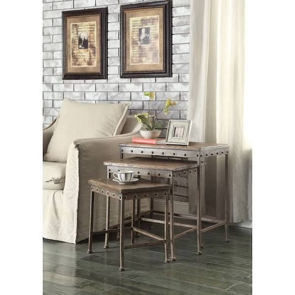 Coaster furniture antique bronze industrial nesting end tables 901373 hayneedle 219