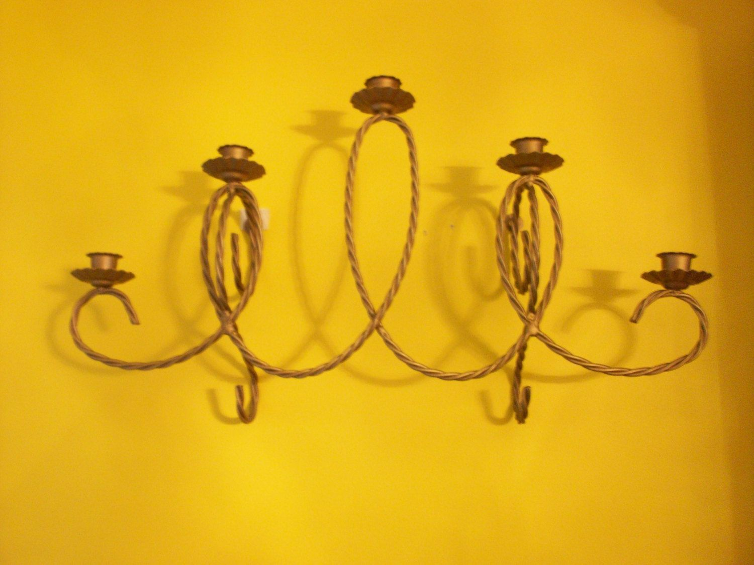 Home Interiors Five Arm Braided Metal Sconce, Homco Gold Tone Metal ...