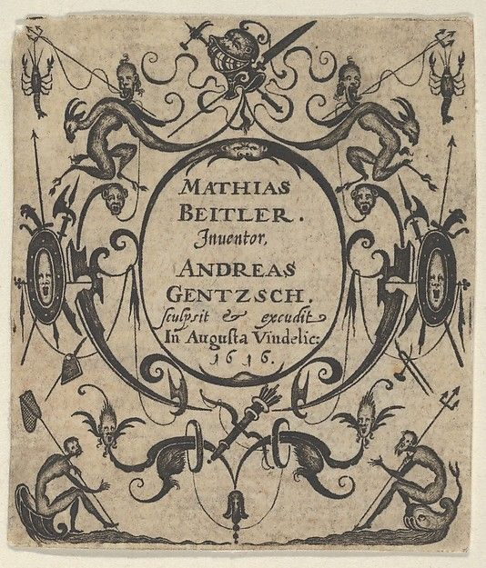 Title Page Panel With Grotesques Around A Central Cartouche A Silhouetted Figure Sits At Bottom Left Holding Net And Right Art Blackwork Designs Blackwork