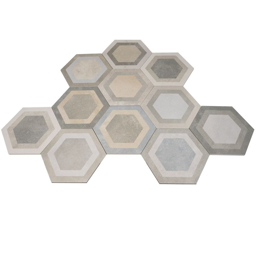 Hexagon Klinker Bushmills multicolor är en hexagon klinker i milda jordfärger från spanska Vives.