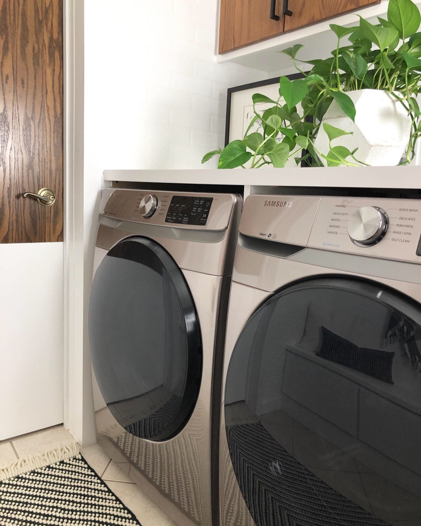 New Champagne Color Washer And Dryer From Samsung Samsung Appliances Laundry Room Remodel Laundry Room Decor