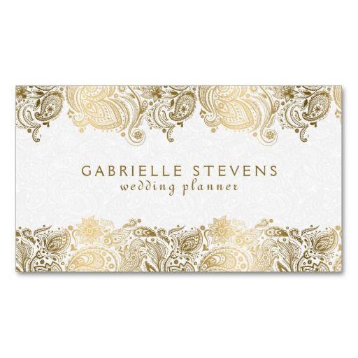 Elegant gold and white paisley wedding planner business card elegant gold and white paisley wedding planner business card templates wajeb Choice Image