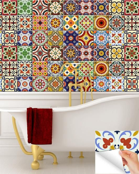 Stickers Tile Kitchen Decals Set Of 24 Vintage Mural Mexican Tiles Bathroom Mixed