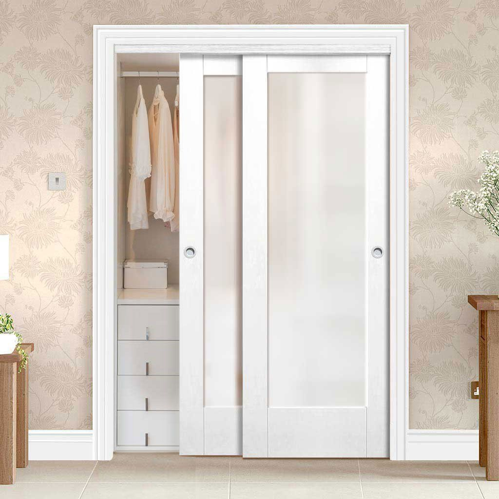 Thruslide Pattern 10 1l 2 Door Wardrobe And Frame Kit Obscure Glass White Primed Lifestyle Wardrobe Doors Sliding Wardrobe Doors Small Closet Door Ideas