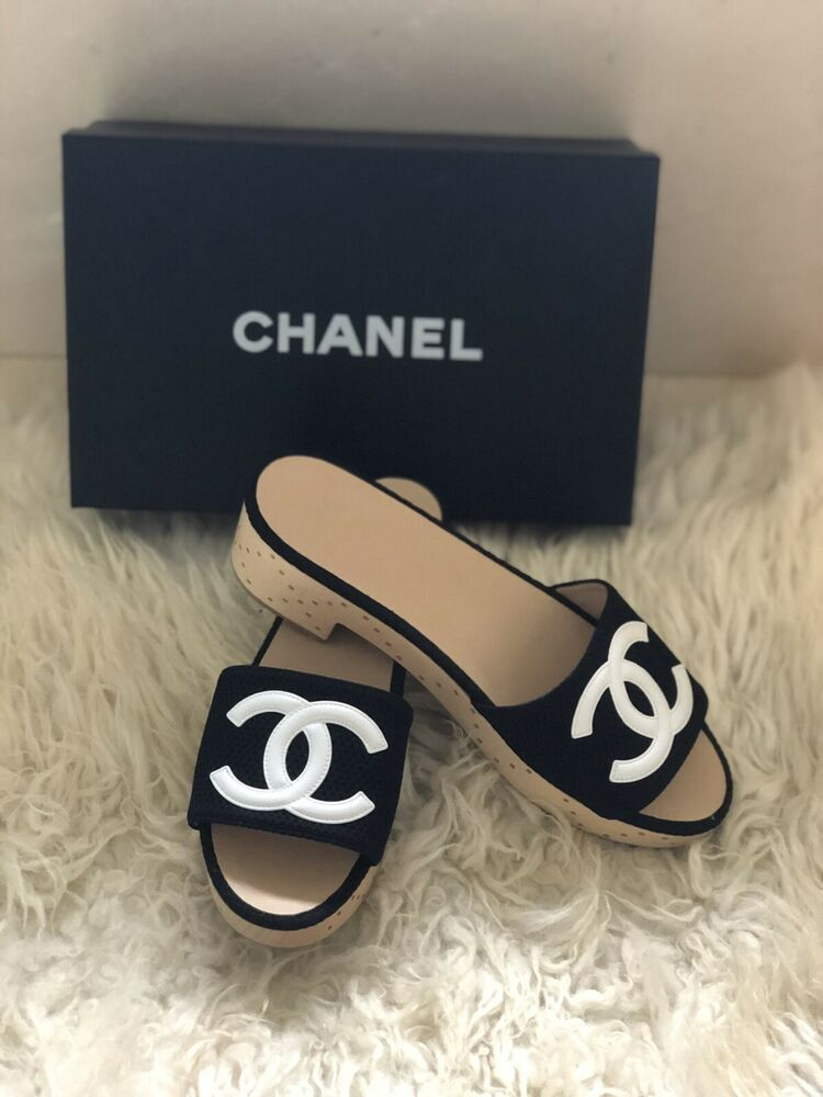 Chanel Black White Mesh Neoprene CC