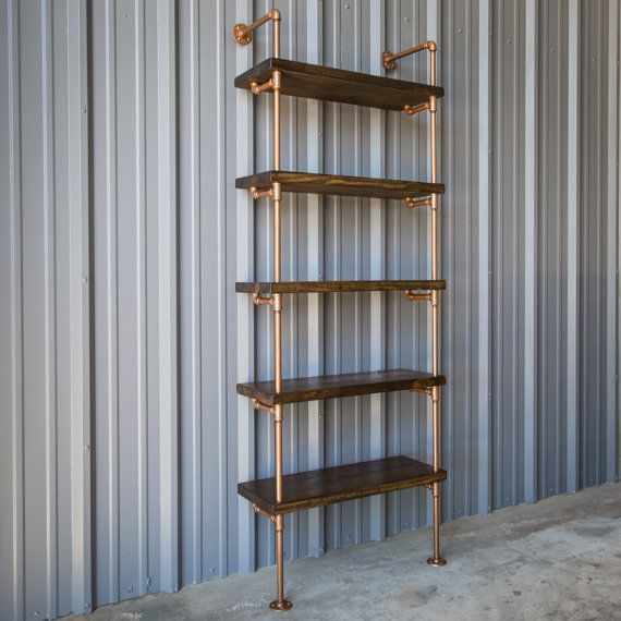 Industrial Pipe Shelving Unit Bookshelf Bookcase Copper Color And Dark Walnut Pine Bookshelves