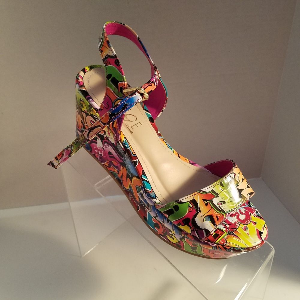 Rouge Wedge Multi-Color Sandals Womens Size 6 Grafitti 70's Style