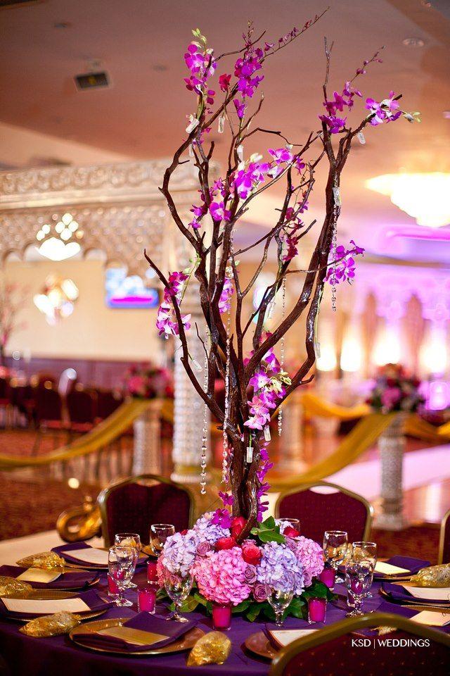 Manzanita tree centerpiece colorful bling wedding