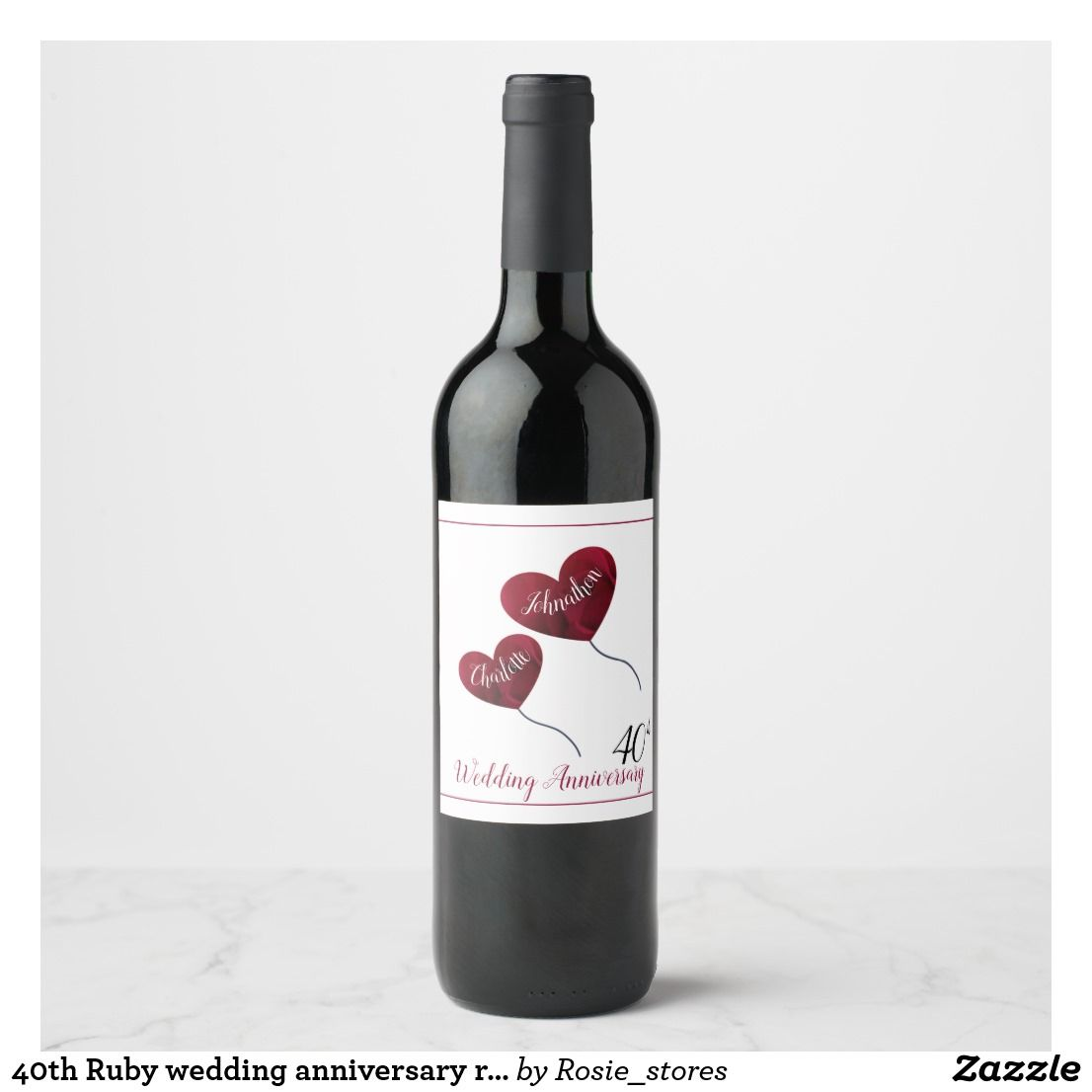 40th ruby wedding anniversary red heart balloons wine