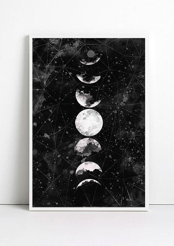 Moon Print Moon Poster Geometric Art Galaxy Print Black Wall Print