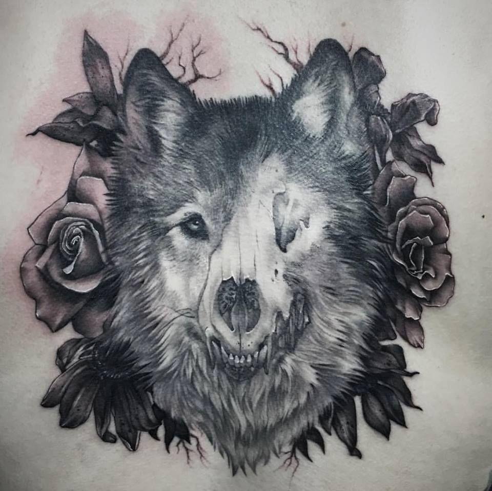 Wolf Skull Tattoo   tattoos   Wolf tattoos, Animal skull