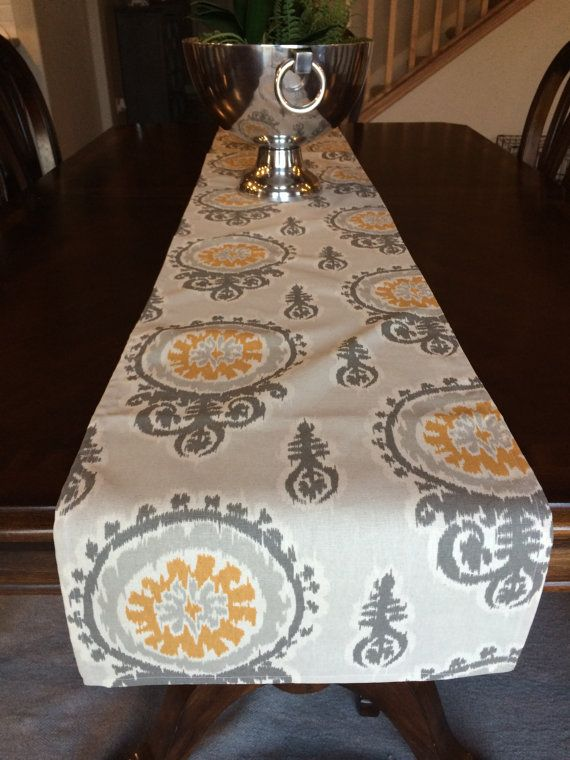 54 Inch Yellow And Gray Table Runner Mustard And Gray Table Etsy Grey Table Table Runners Dressing Your Table