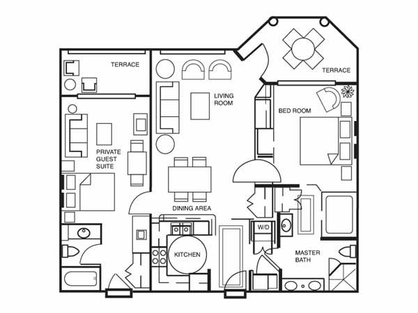 Two Bedroom Floor Plan For Hilton Grand Vacations At Seaworld In Brilliant 3 Bedroom Suite Vegas Design Decoration