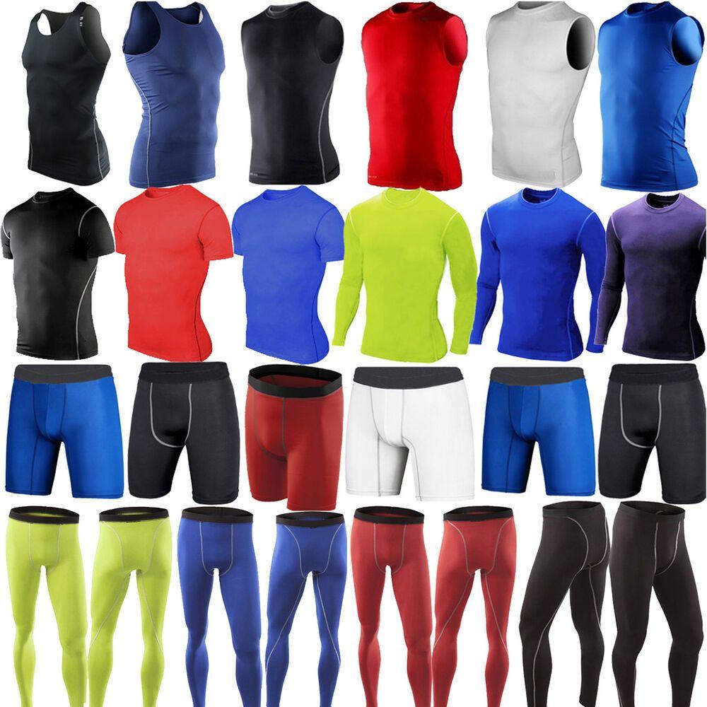 Men Compression Base Layer Fitness Sports T-shirt Tops Pants Leggings Activewear