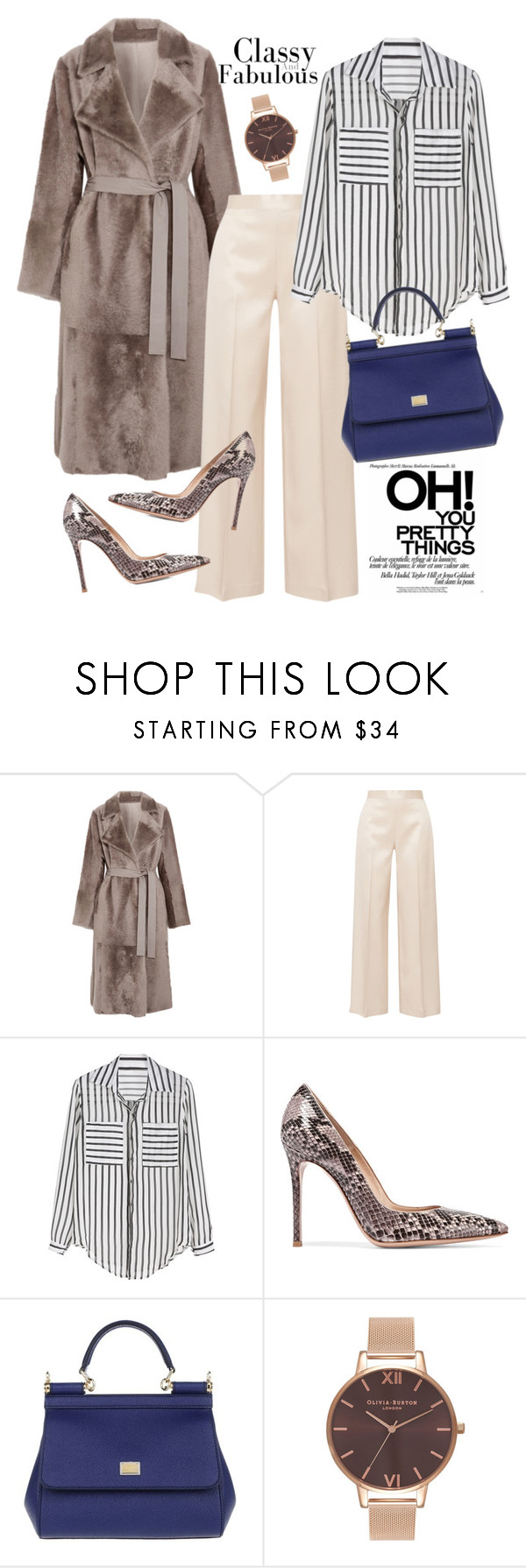 """""""chic"""" by gold-candle23 ❤ liked on Polyvore featuring Yves Salomon, The Row, Gianvito Rossi, Dolce&Gabbana, Olivia Burton, chic, classy, Elegant, Trendy and everyday"""