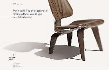 Modern Furniture Ads poster: green ant vintage modern furniture || simplistic layout