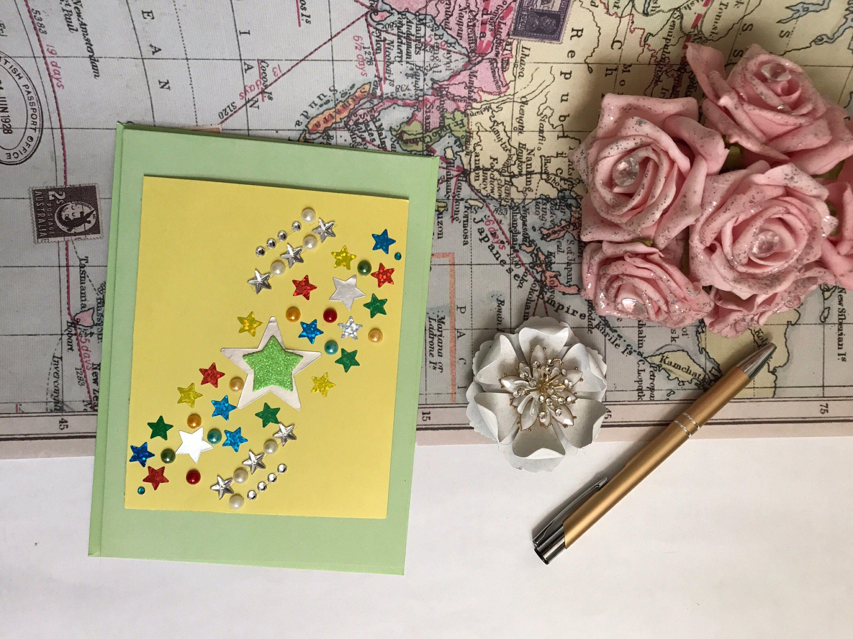 Blank card embellished card stars birthday card girls birthday