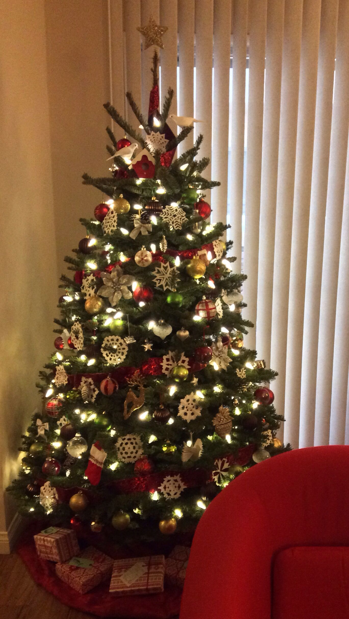 """""""Woodsy Winter"""" Christmas: Red, Gold, Silver, Green, White, & Brown ornaments. Handmade pa ..."""