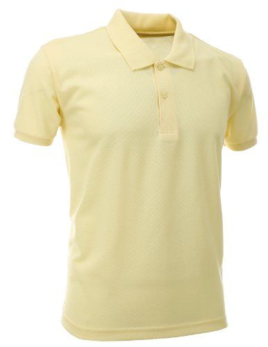 a30588a15 FLATSEVEN Mens Slim Polo Shirts (PS01) Cream Yellow, L FLATSEVEN http:/