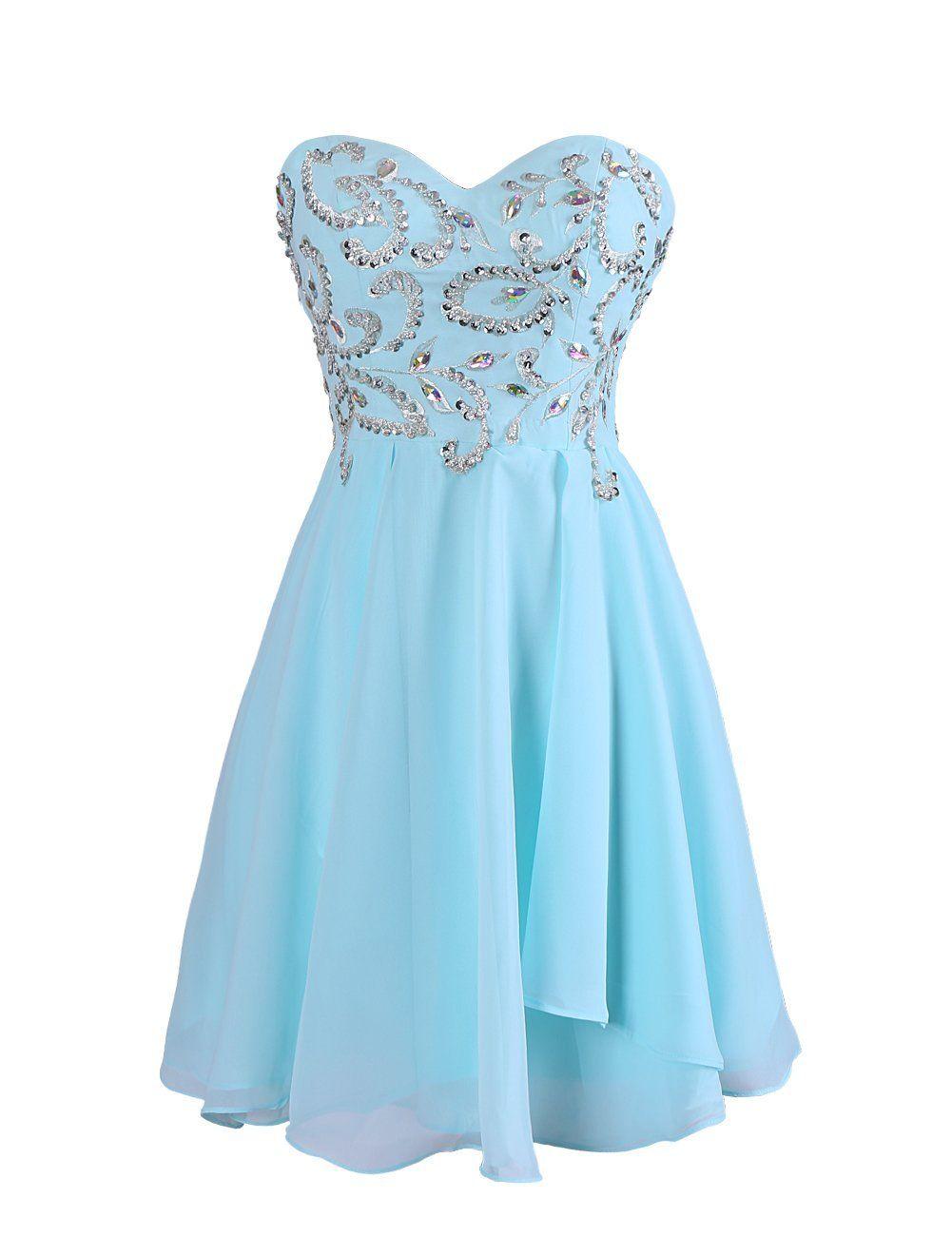 Simple A-line Sweetheart Knee Length Chiffon Prom/Homecoming Dress ...