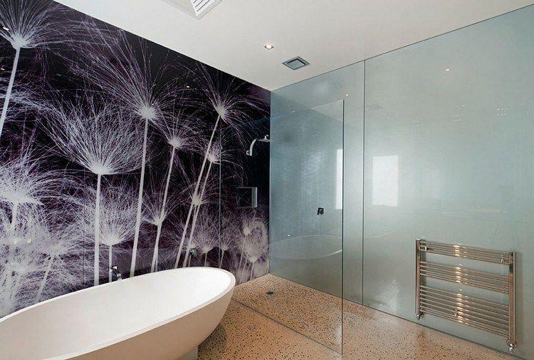 Schwarz Weisse Pusteblumen Auf Der Glas Wandpaneele Badezimmer Spritzschutz Glas Badezimmer Duschdesigns